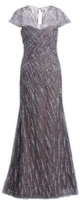 Rene Ruiz Collection Embellished Cap-Sleeve Gown