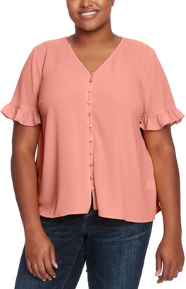 CeCe Ruffle Button-Up Blouse