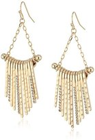 Jessica Simpson Hammered Drop Fringe Gold Earrings