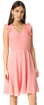 Rebecca Taylor Sleeveless Silk Ruffle Neck Dress
