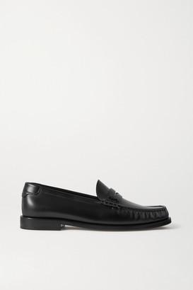 Saint Laurent Logo-appliqued Leather Loafers - Black