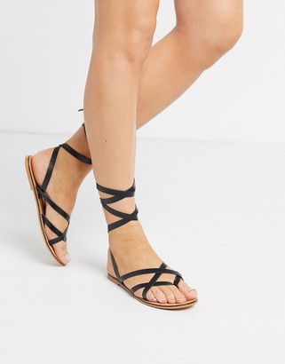 ASOS DESIGN Framed strappy leather sandal in black