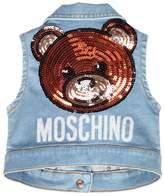 Moschino Sequined Patch Stretch Denim Vest