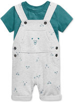 First Impressions Baby Boys' 2-Pc. T-Shirt & Bear-Print Shortall Set, Only at Macy's