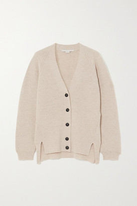 Stella McCartney Ribbed Wool And Alpaca-blend Cardigan - Beige