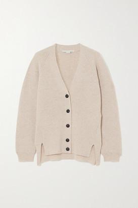 Stella McCartney Ribbed Wool And Alpaca-blend Cardigan - Beige