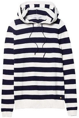 Southern Tide Luis Striped Hooded Pullover Sweater (Nautical Navy) Women's Sweater