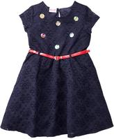 Nannette Little Girls' Lace Dress With Belt And Jeweled Bodice