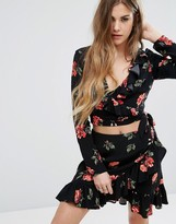 Nobody's Child Cropped Ruffle Top In Rose Print Co-Ord