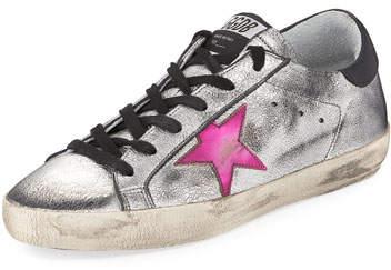 Golden Goose Superstar Metallic Low-Top Sneakers, Silver