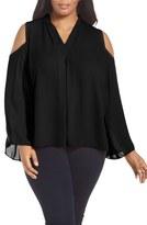 Vince Camuto Plus Size Women's Pleat Front Cold Shoulder Blouse