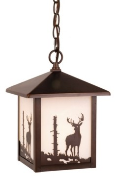 Vaxcel Bryce Rustic Cabin Glass Deer Pendant Light