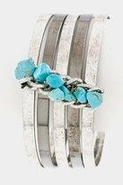Karmas Canvas Plain Bangle with Chain Gem Stone Accent Bracelet