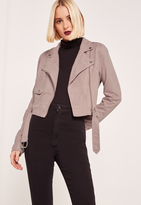 Missguided Lilac Faux Suede Biker Jacket