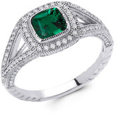 Lafonn Platinum Plated Sterling Silver Lab-Grown Emerald & Simulated Diamond Cushion Ring