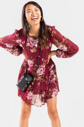 francesca's Elexa Floral Ruffle Mini Dress - Burgundy