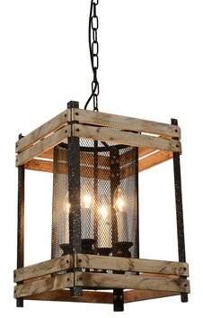 Gracie Oaks Turcios 4-Light Lantern Square / Rectangle Pendant with Wood Accents Gracie Oaks
