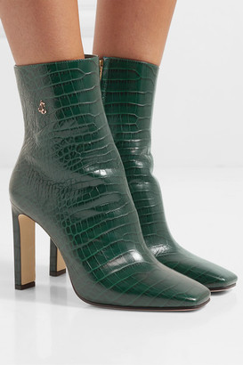 Jimmy Choo Minori 100 Croc-effect Leather Ankle Boots - Dark green
