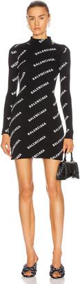 Balenciaga Long Sleeve Logo Mini Dress in Black & White | FWRD