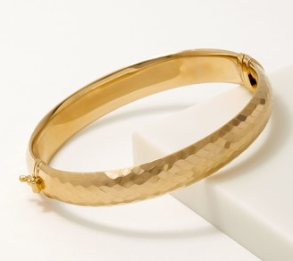 Gold One 1K Gold Diamond Cut Hinged Bangle, Small