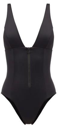 Dos Gardenias - Roos V-neck Zipped Swimsuit - Black