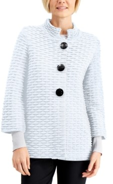 JM Collection Petite Textured Mandarin-Collar Cardigan, Created for Macy's