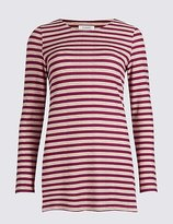 Classic Striped Round Neck Long Sleeve Tunic