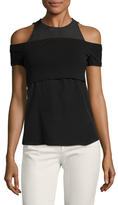 Nicole Miller Silk Jersey Mix Top