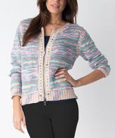 Yuka Paris Pink & Green Stud-Accent Zip-Front Sweater