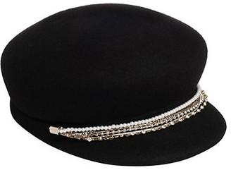 Eugenia Kim Sabrina Embellished Chain-Trimmed Wool Newsboy Cap