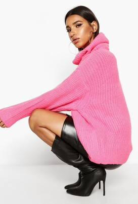 boohoo Oversized Turtleneck Rib Knit Sweater