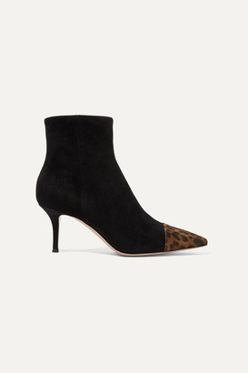Gianvito Rossi 70 Two-tone Suede Ankle Boots - Black