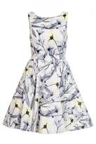 Quiz Grey And Lemon Satin Floral Skater Dress