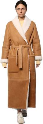 Loewe LONG HOODED SHEARLING COAT