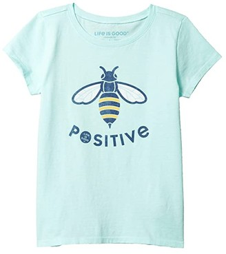 Life is Good Bee Positive Crusher Tee (Little Kids/Big Kids) (Bermuda Blue) Girl's Clothing