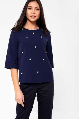 Iclothing iClothing Sarah Occasion Top with Pearl Detail in Navy