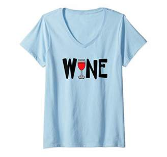 Womens Red Wine Glass Text V-Neck T-Shirt