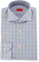 Isaia Grid-Check Woven Dress Shirt