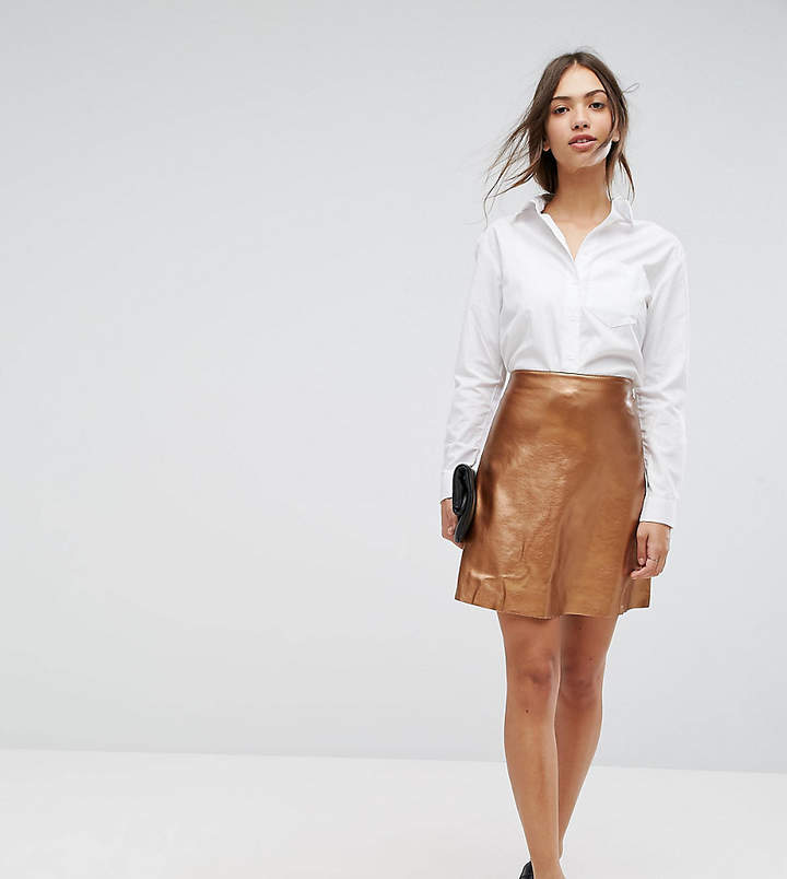 Vila faux leather metallic mini skirt