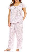Cabernet Plus Floral Vine-Print Flutter-Sleeve Pajamas