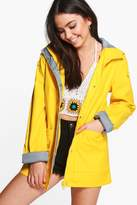 boohoo Megan Rubberised Rain Mac yellow