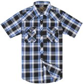 Coevals Club Men's Casual Plaid Snap Front Short Sleeve Shirt (White / blue , L)