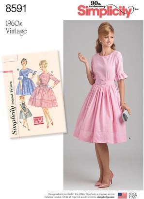 Simplicity Women's Vintage Dress Sewing Pattern, 8591