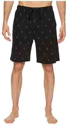 Polo Ralph Lauren Knit Sleep Shorts (Polo Black/Active Grey AOPP) Men's Pajama