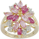 JCPenney FINE JEWELRY Lab-Created Ruby and Pink & White Lab-Created Sapphire14K Gold over Silver Flower Ring