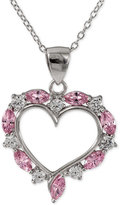 Giani Bernini Pink and Clear Cubic Zirconia Heart Pendant Necklace in Sterling Silver, Only at Macy's