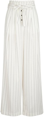 Naf Naf Striped Wide Leg Trousers with High Waist