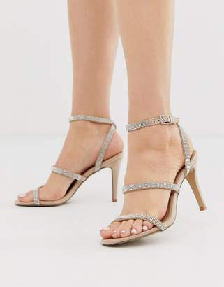 Steve Madden Equal rhinestone strappy mid heeled sandals-Beige