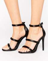 Missguided Satin Multi Strap Heeled Sandal