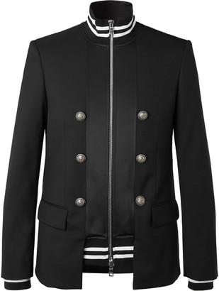 Balmain Black Slim-Fit Panelled Wool And Tech-Jersey Blazer